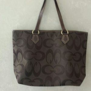 Canvas and leather tote hand bag